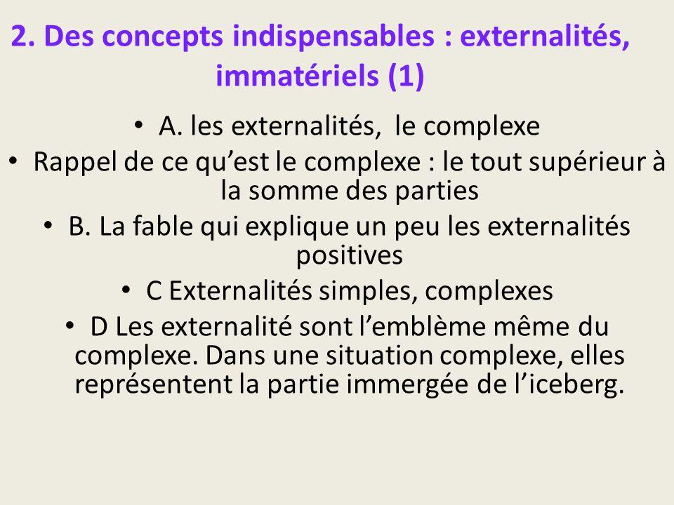 2. Des concepts indispensables : externalités, immatériels (1) A. les externalités, le complexe Rappel de ce quest le complexe : le tout supérieur à l