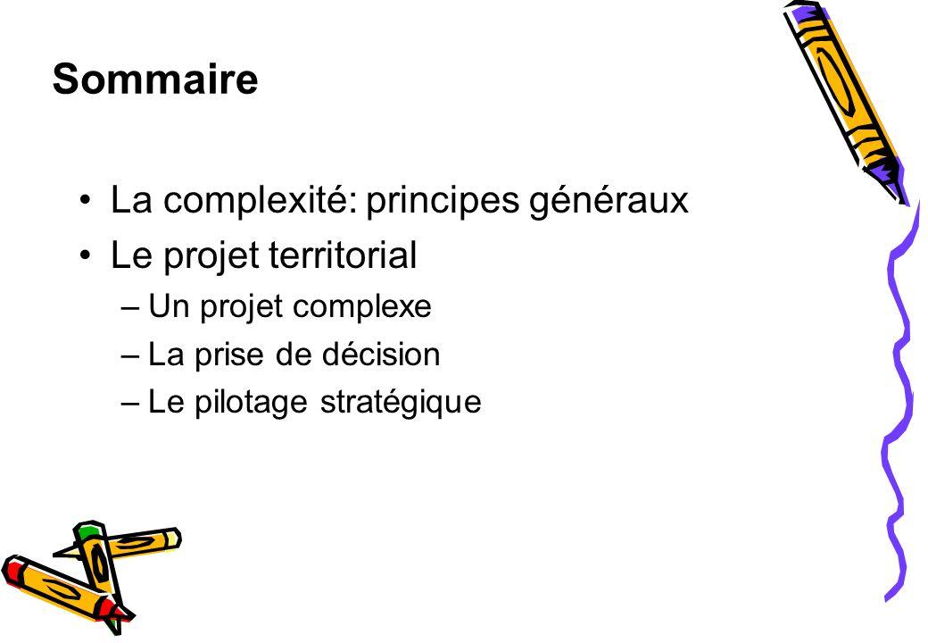 Sommaire La complexité: principes généraux Le projet territorial –Un projet complexe –La prise de décision –Le pilotage stratégique