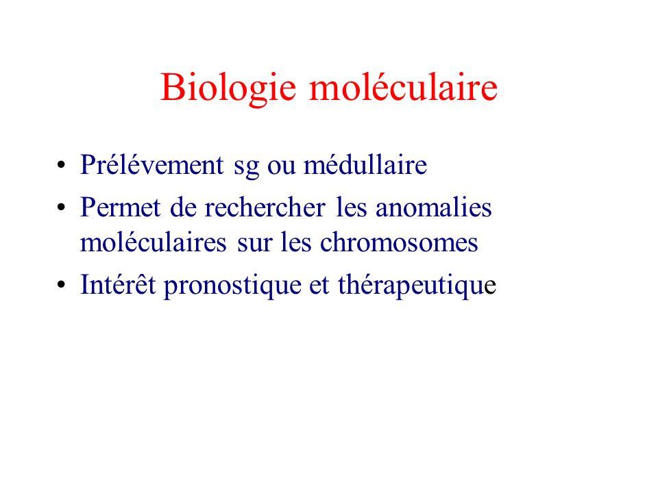 Biologie moléculaire Prélévement sg ou médullaire Permet de rechercher les anomalies moléculaires sur les chromosomes Intérêt pronostique et thérapeut