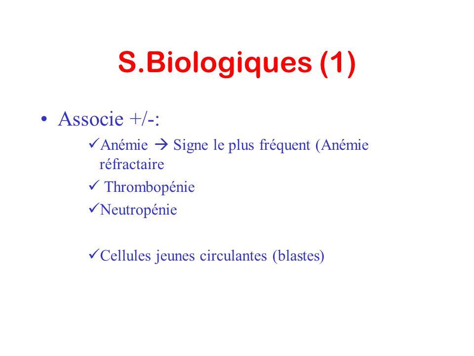 S.Biologiques (1) Associe +/-: Anémie Signe le plus fréquent (Anémie réfractaire Thrombopénie Neutropénie Cellules jeunes circulantes (blastes)