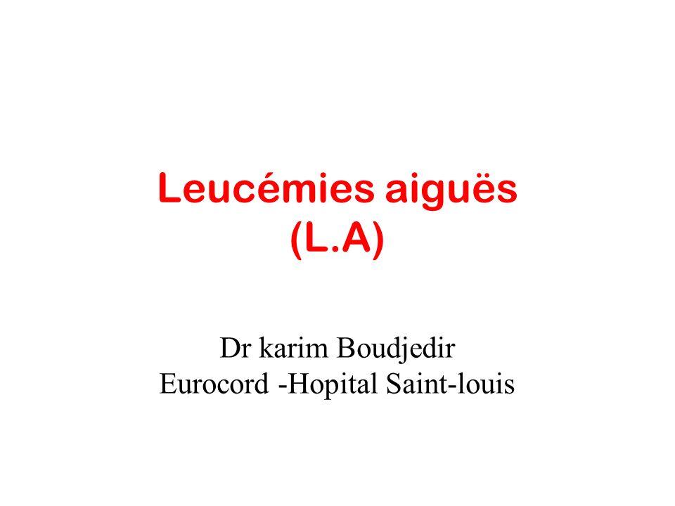 LAL LAM Polyadénopathies: symétriques,fermes Médiastin:+++ Hépatosplénomégalie Atteinte méningée Peu ou pas de granulations intraC CD 19+ CD 20 + Atteinte cutanée Infiltration gingivale Chlorome Hépato splénomégalie Atteinte méningée: M4-M5 forme hyperleucocytaire Granulations +++ CD33+ CD13 +