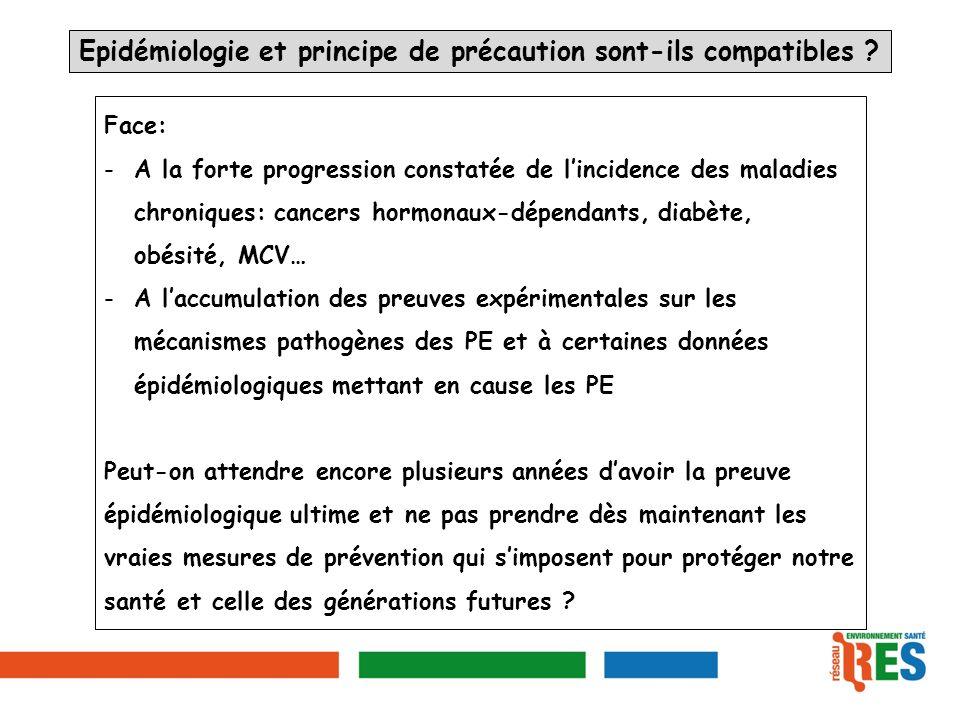 Epidémiologie et principe de précaution sont-ils compatibles ? Face: -A la forte progression constatée de lincidence des maladies chroniques: cancers