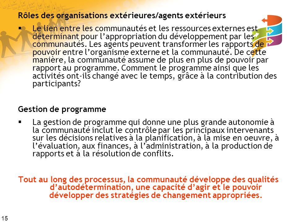 15 Rôles des organisations extérieures/agents extérieurs Le lien entre les communautés et les ressources externes est déterminant pour lappropriation du développement par les communautés.