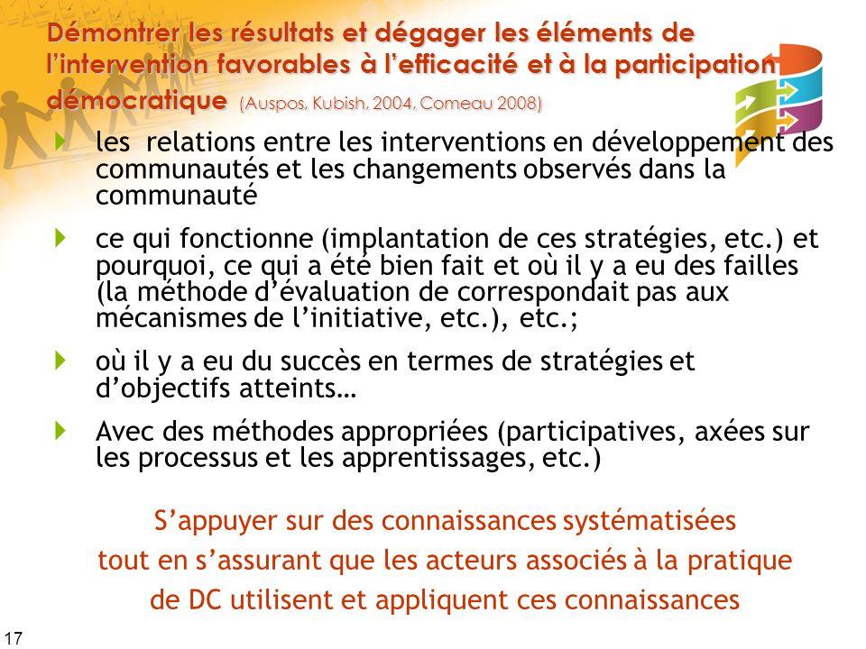 17 Démontrer les résultats et dégager les éléments de lintervention favorables à lefficacité et à la participation démocratique (Auspos, Kubish, 2004,