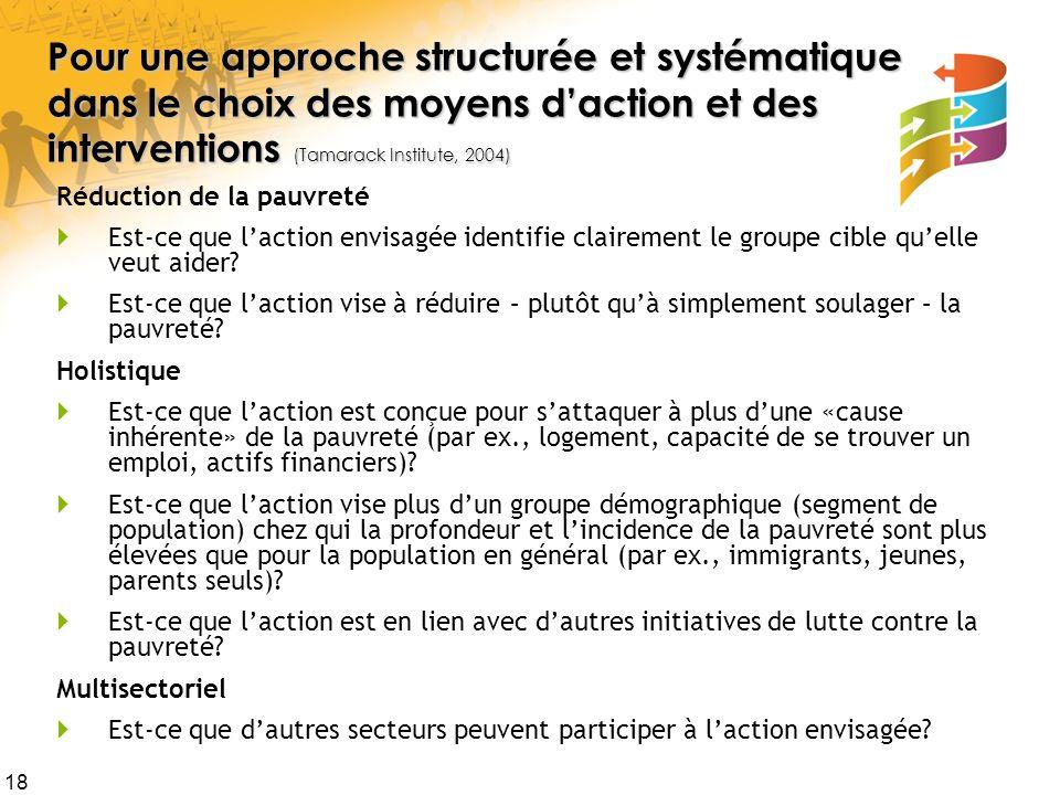 18 Pour une approche structurée et systématique dans le choix des moyens daction et des interventions (Tamarack Institute, 2004) Pour une approche str