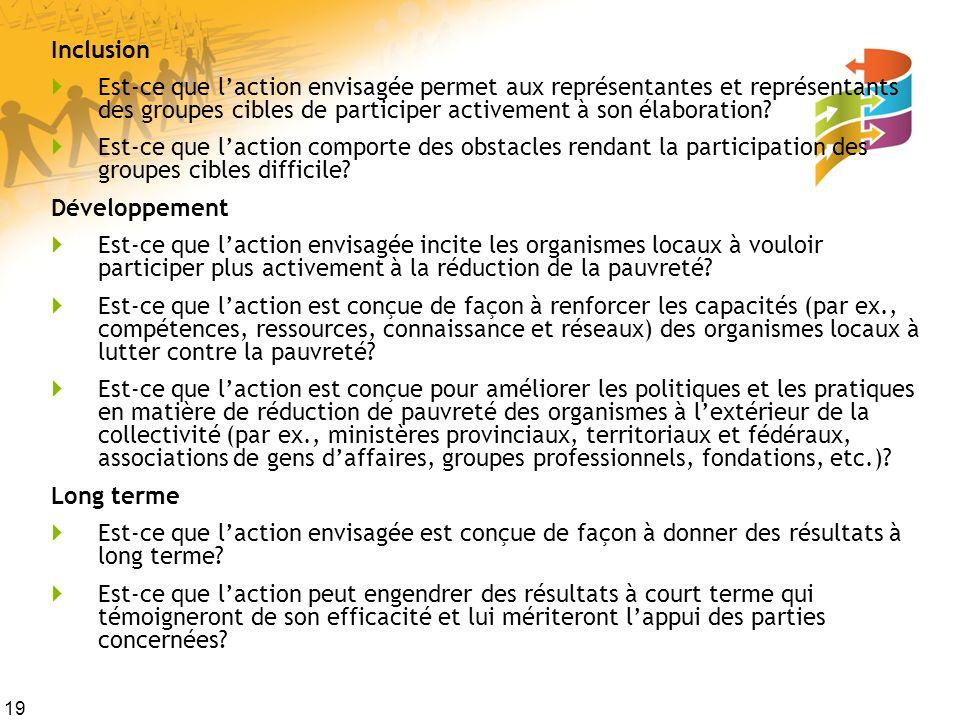 19 Inclusion Est-ce que laction envisagée permet aux représentantes et représentants des groupes cibles de participer activement à son élaboration? Es
