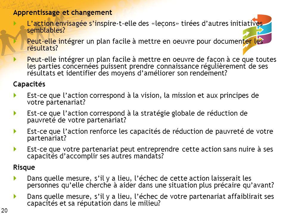 20 Apprentissage et changement Laction envisagée sinspire-t-elle des «leçons» tirées dautres initiatives semblables? Peut-elle intégrer un plan facile