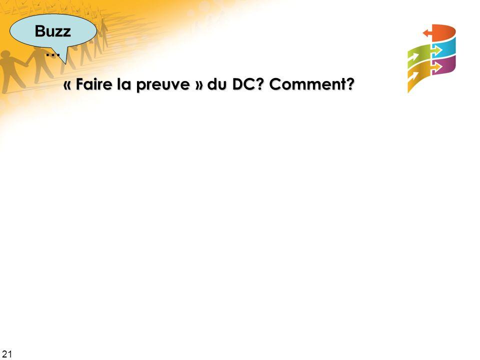21 « Faire la preuve » du DC Comment Buzz …