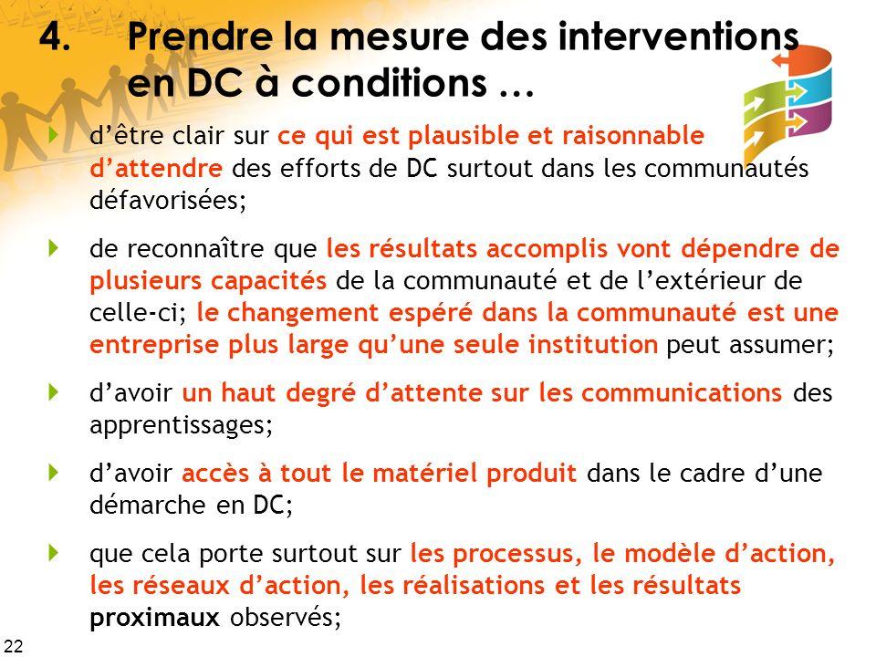 22 4.Prendre la mesure des interventions en DC à conditions … dêtre clair sur ce qui est plausible et raisonnable dattendre des efforts de DC surtout