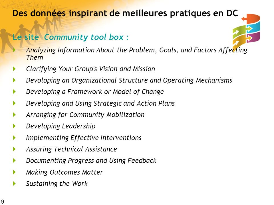 9 Des données inspirant de meilleures pratiques en DC Le site Community tool box : Analyzing Information About the Problem, Goals, and Factors Affecti