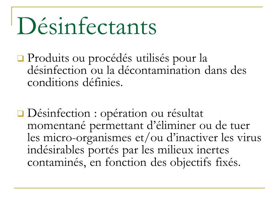 Désinfectants Produits ou procédés utilisés pour la désinfection ou la décontamination dans des conditions définies. Désinfection : opération ou résul