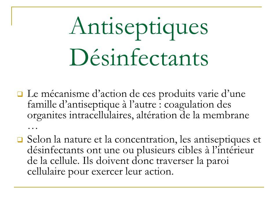 Antiseptiques Désinfectants Le mécanisme daction de ces produits varie dune famille dantiseptique à lautre : coagulation des organites intracellulaire