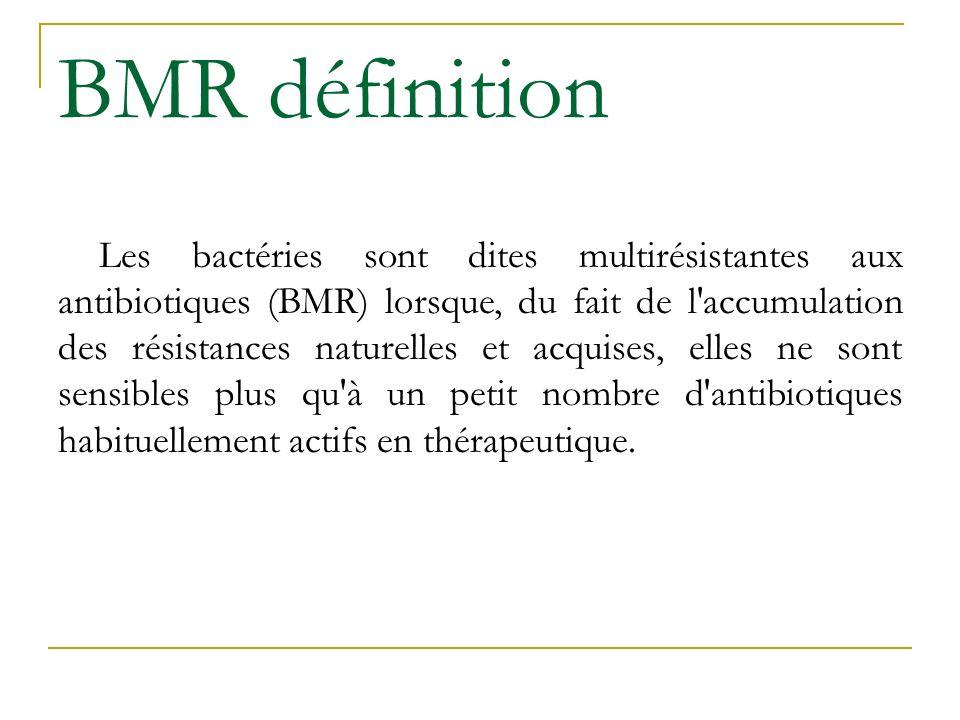 BMR définition Les bactéries sont dites multirésistantes aux antibiotiques (BMR) lorsque, du fait de l'accumulation des résistances naturelles et acqu