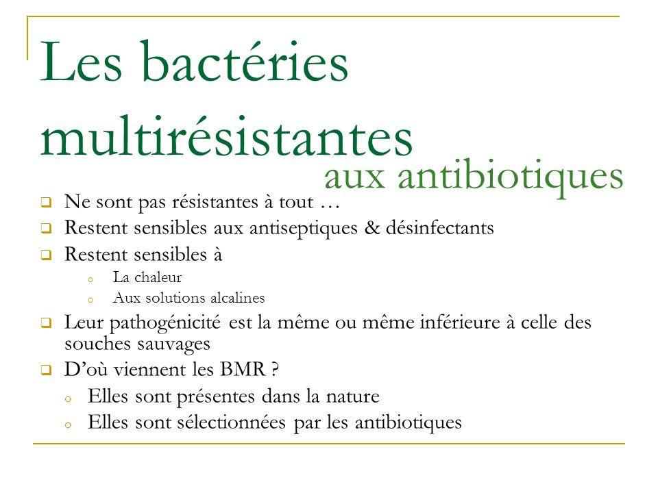 Les bactéries multirésistantes Ne sont pas résistantes à tout … Restent sensibles aux antiseptiques & désinfectants Restent sensibles à o La chaleur o