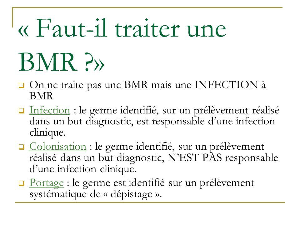 « Faut-il traiter une BMR ?» On ne traite pas une BMR mais une INFECTION à BMR Infection : le germe identifié, sur un prélèvement réalisé dans un but