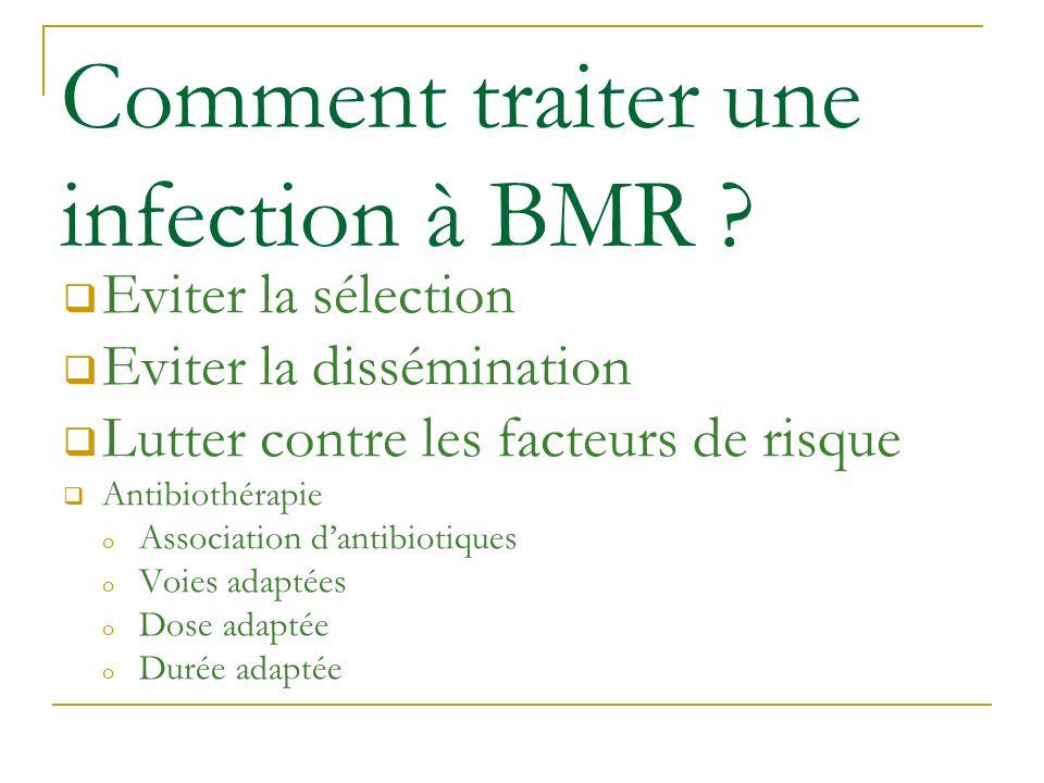 Comment traiter une infection à BMR ? Eviter la sélection Eviter la dissémination Lutter contre les facteurs de risque Antibiothérapie o Association d