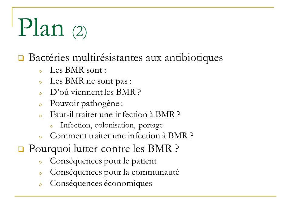 Bactéries multirésistantes aux antibiotiques o Les BMR sont : o Les BMR ne sont pas : o Doù viennent les BMR ? o Pouvoir pathogène : o Faut-il traiter