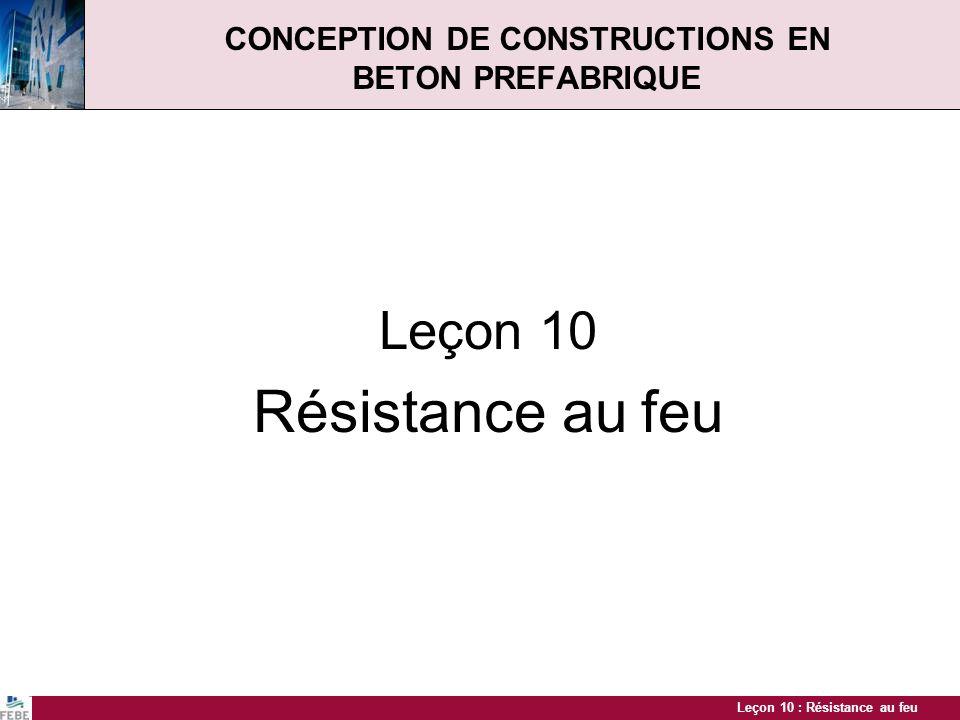 Leçon 10 : Résistance au feu CONCEPTION DE CONSTRUCTIONS EN BETON PREFABRIQUE Leçon 10 Résistance au feu