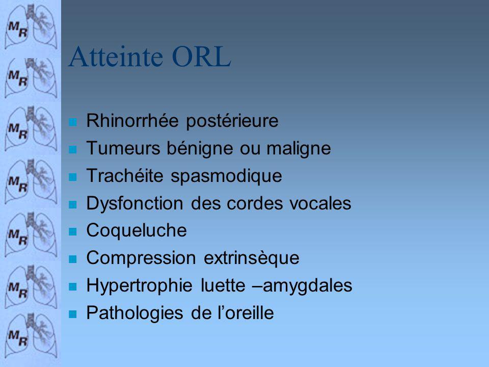 Atteinte ORL n Rhinorrhée postérieure n Tumeurs bénigne ou maligne n Trachéite spasmodique n Dysfonction des cordes vocales n Coqueluche n Compression