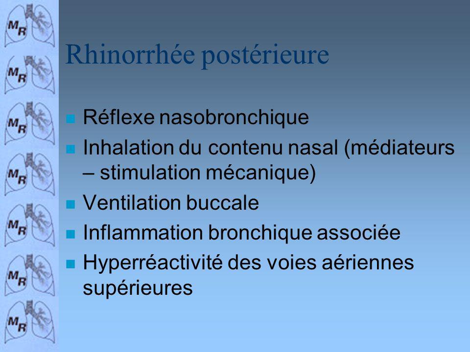 Rhinorrhée postérieure n Réflexe nasobronchique n Inhalation du contenu nasal (médiateurs – stimulation mécanique) n Ventilation buccale n Inflammatio