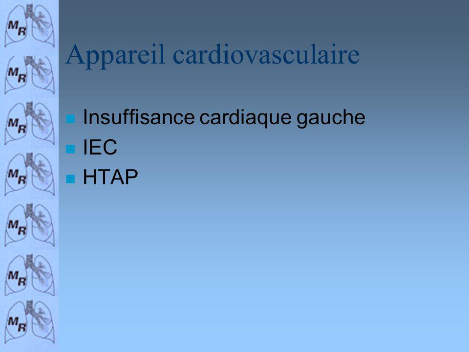 Appareil cardiovasculaire n Insuffisance cardiaque gauche n IEC n HTAP