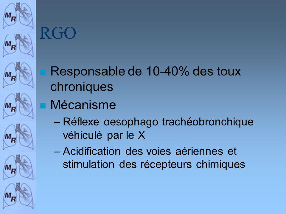 RGO n Responsable de 10-40% des toux chroniques n Mécanisme –Réflexe oesophago trachéobronchique véhiculé par le X –Acidification des voies aériennes