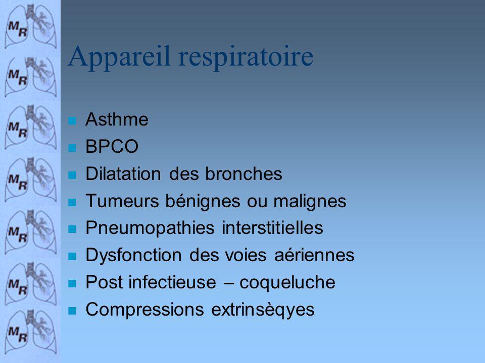 Appareil respiratoire n Asthme n BPCO n Dilatation des bronches n Tumeurs bénignes ou malignes n Pneumopathies interstitielles n Dysfonction des voies