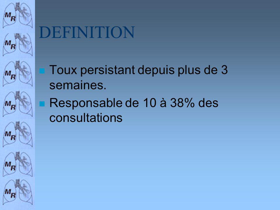 DEFINITION n Toux persistant depuis plus de 3 semaines. n Responsable de 10 à 38% des consultations