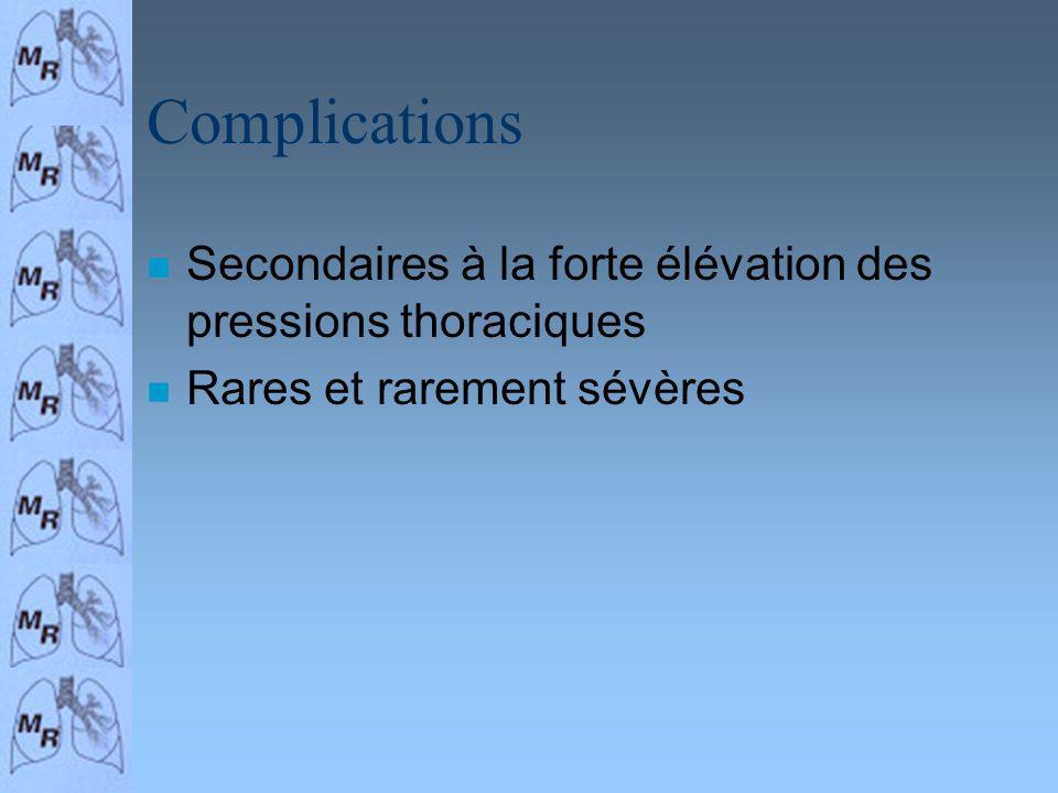 Complications n Secondaires à la forte élévation des pressions thoraciques n Rares et rarement sévères
