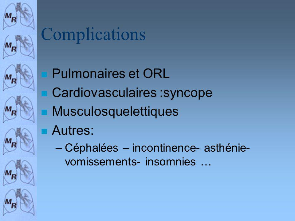 Complications n Pulmonaires et ORL n Cardiovasculaires :syncope n Musculosquelettiques n Autres: –Céphalées – incontinence- asthénie- vomissements- insomnies …