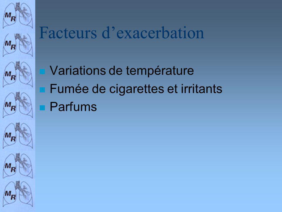 Facteurs dexacerbation n Variations de température n Fumée de cigarettes et irritants n Parfums