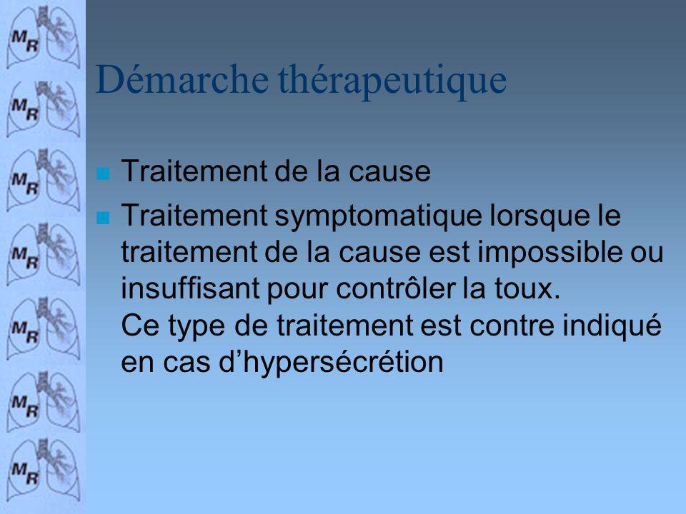 Démarche thérapeutique n Traitement de la cause n Traitement symptomatique lorsque le traitement de la cause est impossible ou insuffisant pour contrô