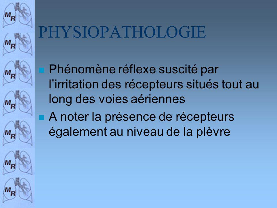 PHYSIOPATHOLOGIE n Phénomène réflexe suscité par lirritation des récepteurs situés tout au long des voies aériennes n A noter la présence de récepteur