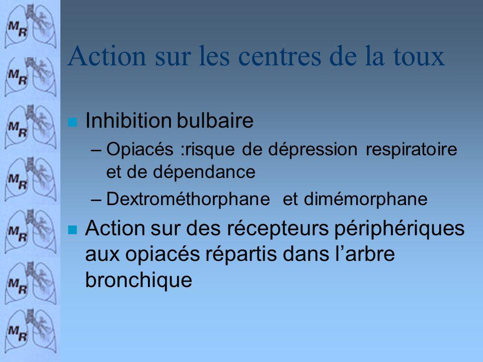 Action sur les centres de la toux n Inhibition bulbaire –Opiacés :risque de dépression respiratoire et de dépendance –Dextrométhorphane et dimémorphan