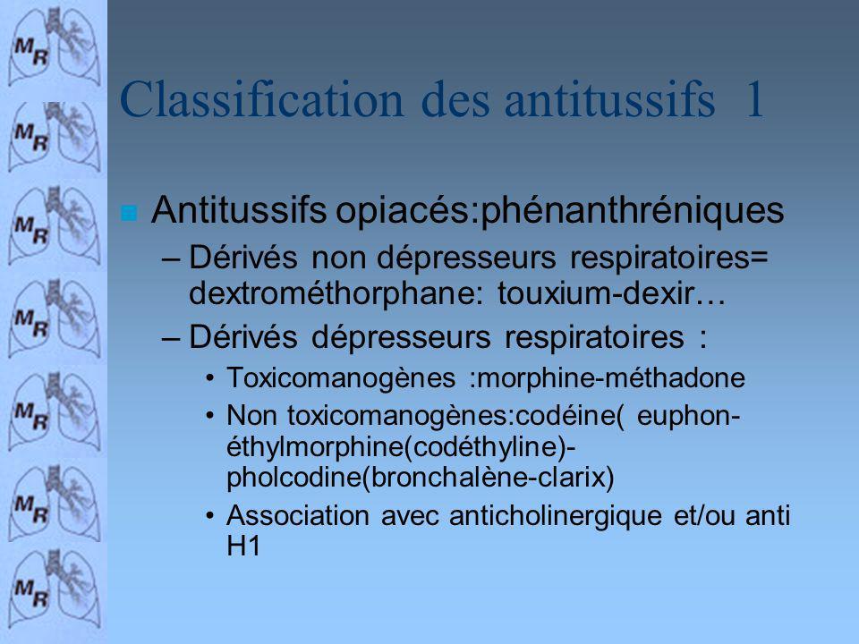 Classification des antitussifs 1 n Antitussifs opiacés:phénanthréniques –Dérivés non dépresseurs respiratoires= dextrométhorphane: touxium-dexir… –Dér