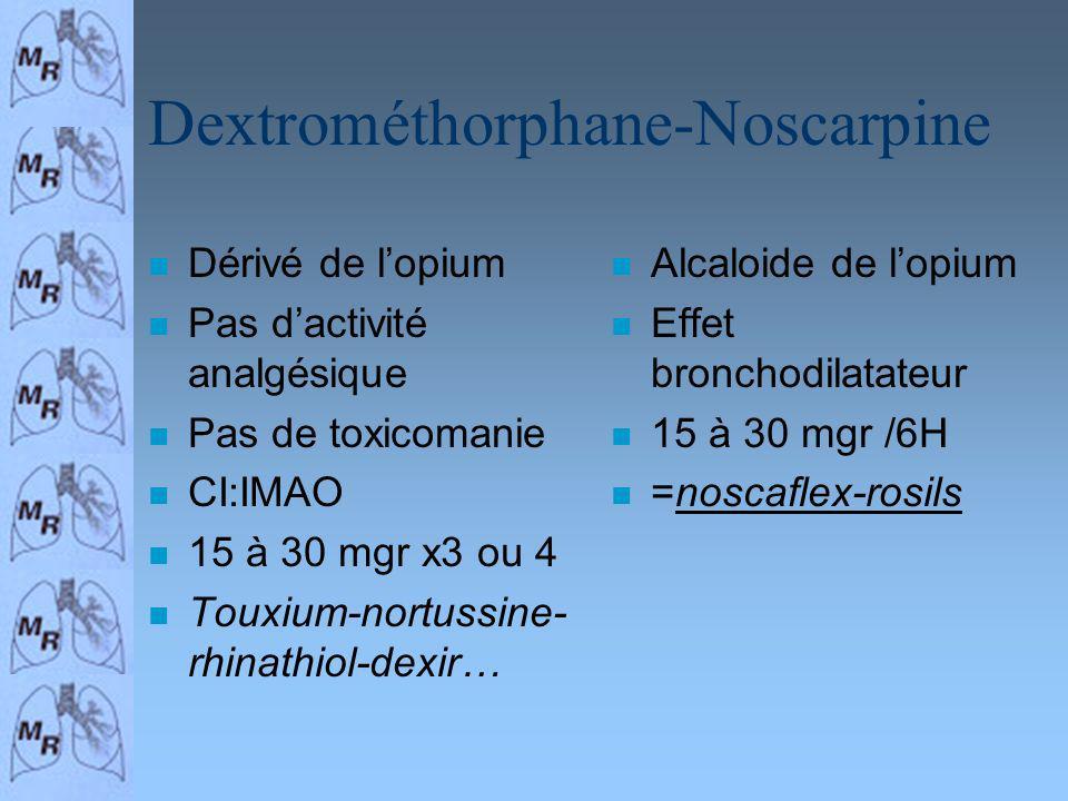 Dextrométhorphane-Noscarpine n Dérivé de lopium n Pas dactivité analgésique n Pas de toxicomanie n CI:IMAO n 15 à 30 mgr x3 ou 4 n Touxium-nortussine-