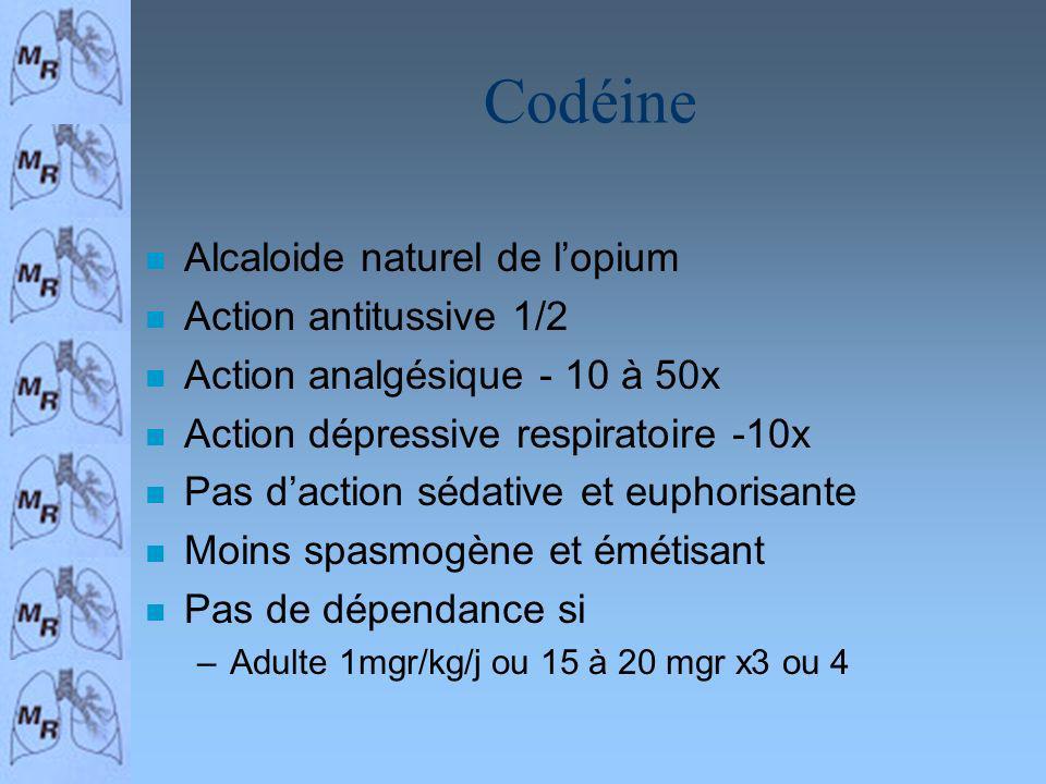 Codéine n Alcaloide naturel de lopium n Action antitussive 1/2 n Action analgésique - 10 à 50x n Action dépressive respiratoire -10x n Pas daction séd