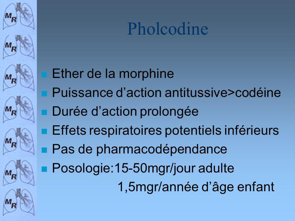 Pholcodine n Ether de la morphine n Puissance daction antitussive>codéine n Durée daction prolongée n Effets respiratoires potentiels inférieurs n Pas