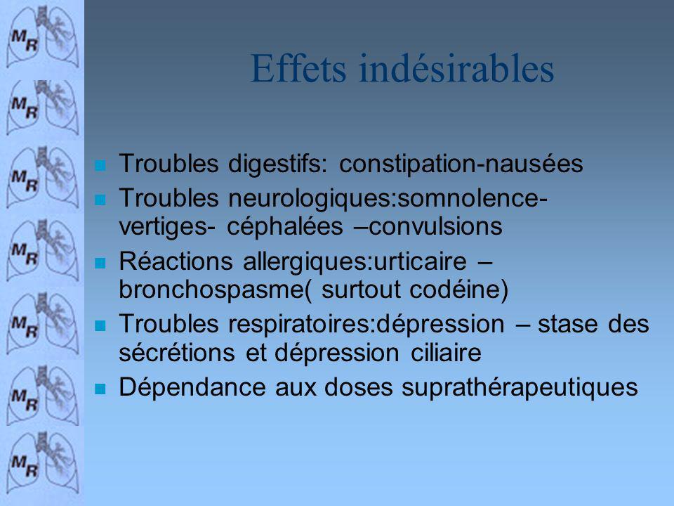 Effets indésirables n Troubles digestifs: constipation-nausées n Troubles neurologiques:somnolence- vertiges- céphalées –convulsions n Réactions aller