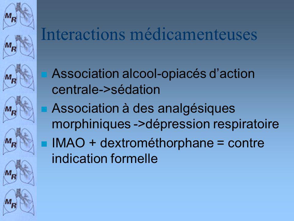 Interactions médicamenteuses n Association alcool-opiacés daction centrale->sédation n Association à des analgésiques morphiniques ->dépression respir