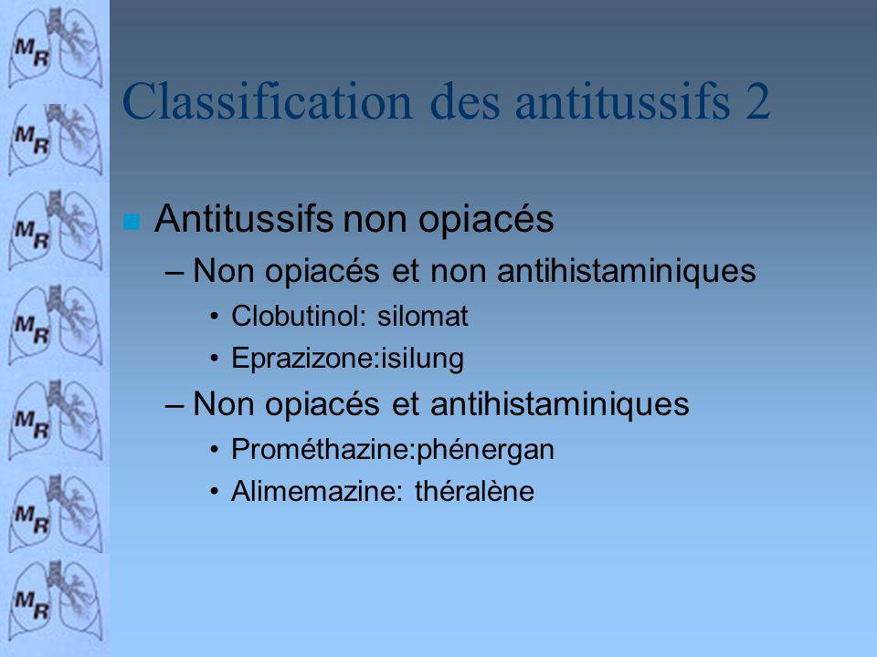 Classification des antitussifs 2 n Antitussifs non opiacés –Non opiacés et non antihistaminiques Clobutinol: silomat Eprazizone:isilung –Non opiacés e