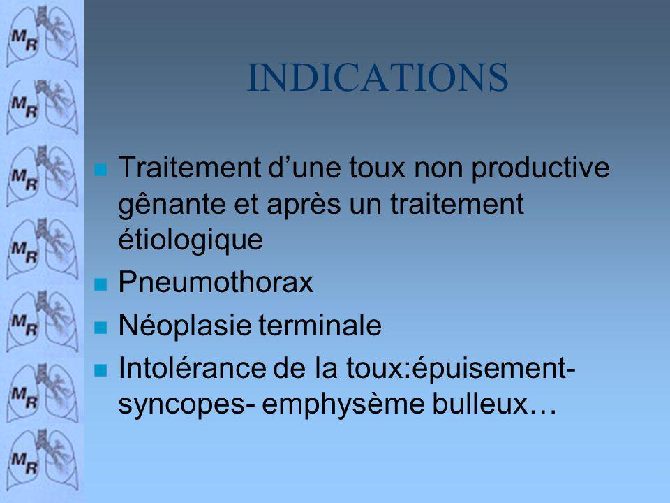 INDICATIONS n Traitement dune toux non productive gênante et après un traitement étiologique n Pneumothorax n Néoplasie terminale n Intolérance de la