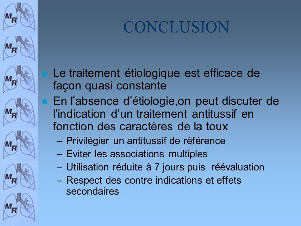 CONCLUSION n Le traitement étiologique est efficace de façon quasi constante n En labsence détiologie,on peut discuter de lindication dun traitement a