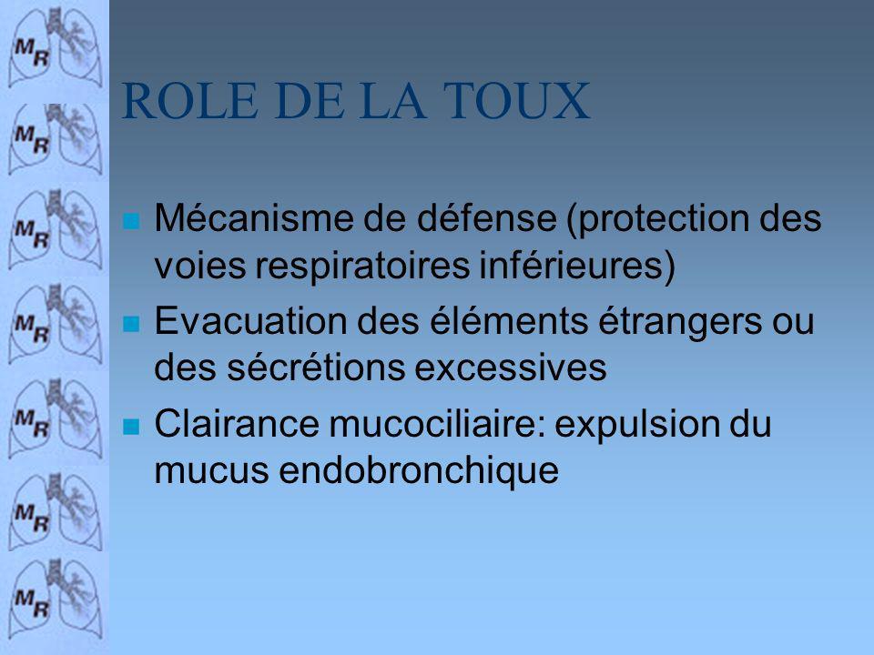 ROLE DE LA TOUX n Mécanisme de défense (protection des voies respiratoires inférieures) n Evacuation des éléments étrangers ou des sécrétions excessiv