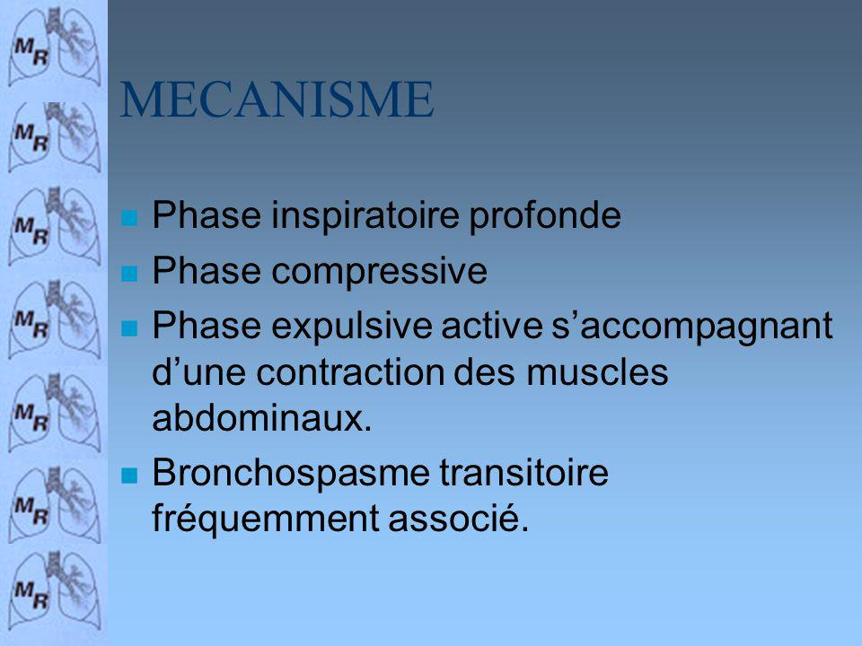 MECANISME n Phase inspiratoire profonde n Phase compressive n Phase expulsive active saccompagnant dune contraction des muscles abdominaux.