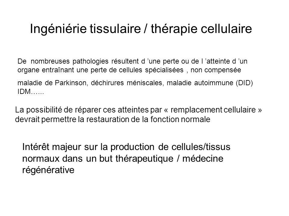 Ingéniérie tissulaire / thérapie cellulaire De nombreuses pathologies résultent d une perte ou de l atteinte d un organe entraînant une perte de cellu