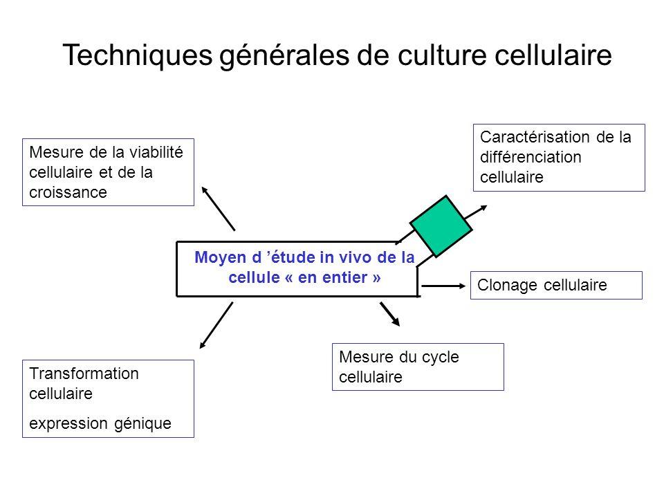 Techniques générales de culture cellulaire Mesure de la viabilité cellulaire et de la croissance Caractérisation de la différenciation cellulaire Mesure du cycle cellulaire Clonage cellulaire Transformation cellulaire expression génique Moyen d étude in vivo de la cellule « en entier »