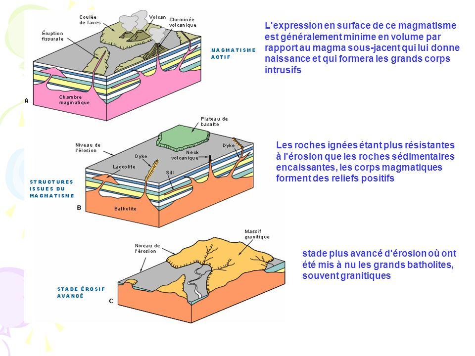 L'expression en surface de ce magmatisme est généralement minime en volume par rapport au magma sous-jacent qui lui donne naissance et qui formera les