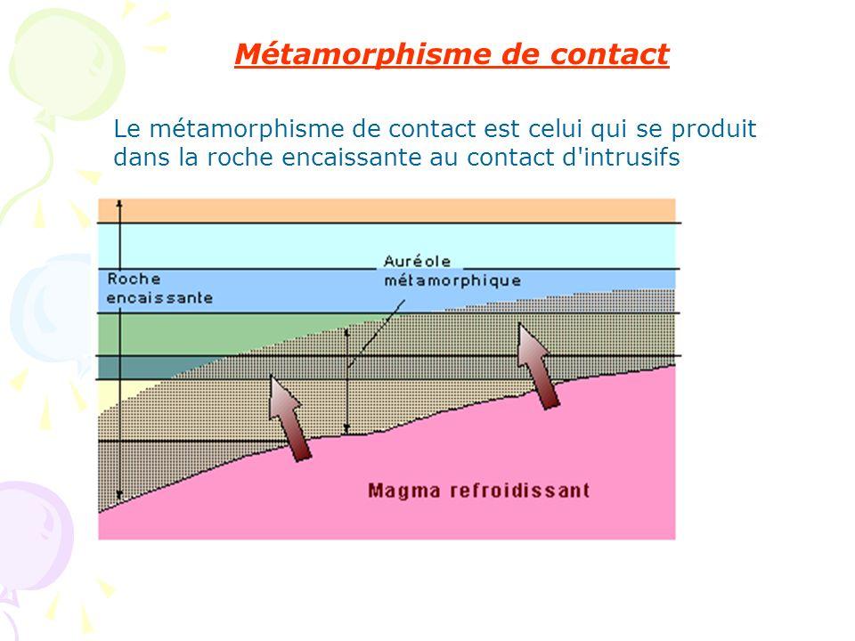 Métamorphisme de contact Le métamorphisme de contact est celui qui se produit dans la roche encaissante au contact d'intrusifs