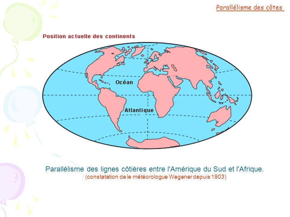 Parallélisme des lignes côtières entre l'Amérique du Sud et l'Afrique. (constatation de le météorologue Wegener depuis 1903) Parallélisme des côtes
